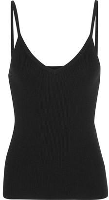Equipment - Annette Cotton, Silk And Cashmere-blend Camisole - Black $170 thestylecure.com