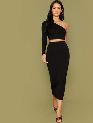Shein One Shoulder Fitted Top & Pencil Skirt Set