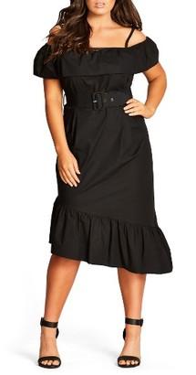 Plus Size Women's City Chic Saloon Baby Cold Shoulder Dress $82.99 thestylecure.com