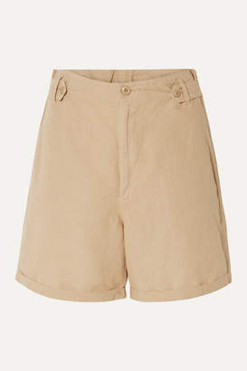 The Great The Explorer Linen And Cotton-blend Shorts - Sand