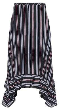 See by Chloe Striped silk crêpe midi skirt