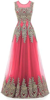Rieshaneea Womens Long Tulle Embroidery Prom Bridesmaid Dresess Party Gown
