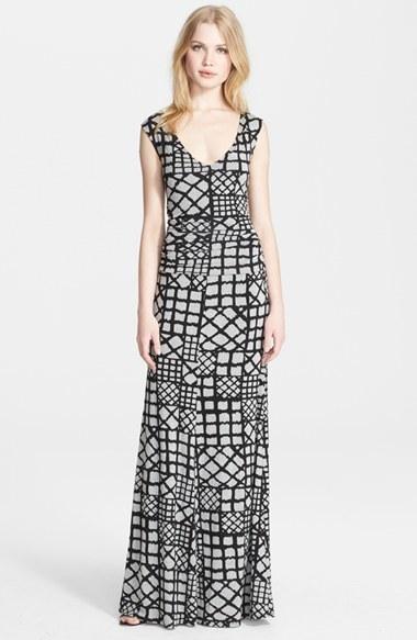 Tracy Reese Cross Back Geometric Print Jersey Maxi Dress
