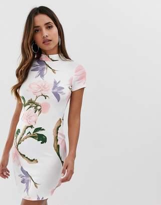 AX Paris curved hem mini dress in floral print