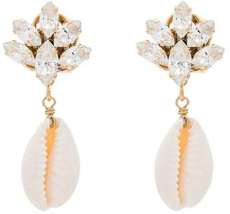 Anton Heunis metallic puka shell drop crystal earrings