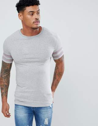 Asos Design DESIGN muscle t-shirt with stretch and contrast sleeve panels