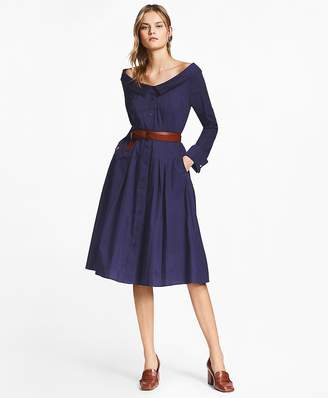 Patchwork Jacquard Portrait-Collar Shirtdress $228 thestylecure.com