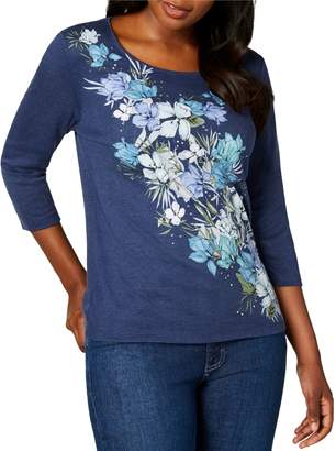 Karen Scott Petite Floral-Print Cotton Blend Top