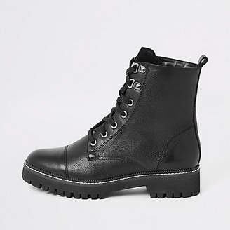 River Island Black leather lace-up hiking boots