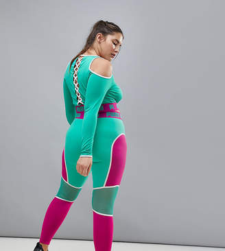 Puma Plus Exclusive To Asos Panel Mesh Leggings In Pink And Green