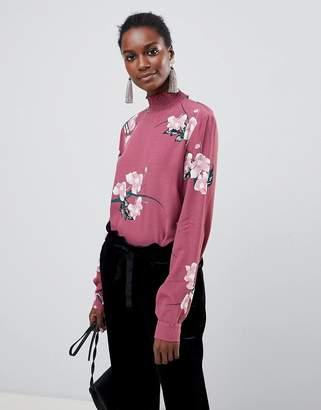 Vila High Neck Floral Top