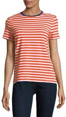 Lord & Taylor Petite Striped-Print Short-Sleeve Tee
