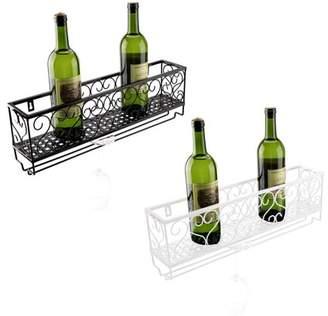 Yosoo Metal Wine Rack,Glass Holder,Wall Mount Metal Wine Rack Bottle Champagne Glass Holder Storage Bar Accessory with Shelf