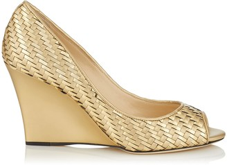 Jimmy Choo BAXEN Open Toe Wedge in Gold Mix Woven Metallic Fabric