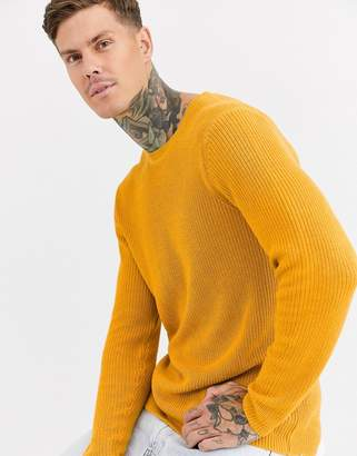 Bershka crew neck knitted sweater in mustard