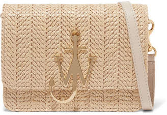 J.W.Anderson Logo Mini Raffia And Leather Shoulder Bag - Neutral