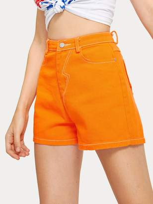 Shein Neon Orange Pocket Back Denim Shorts