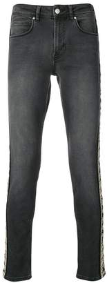 Kappa appliqué striped skinny jeans