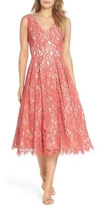 Eliza J V-Neck Lace Midi Dress