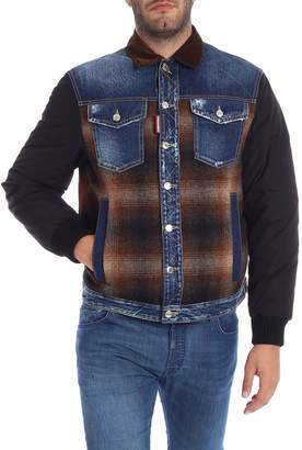 DSQUARED2 Wool And Denim Inserts Down Jacket