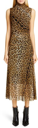 Fuzzi Ruched Leopard Print Midi Dress