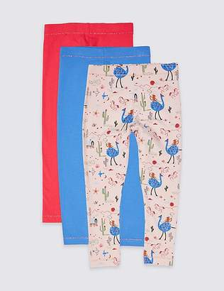 Marks and Spencer 3 Pack Cotton Rich Leggings with Stretch (3 Months - 7 Years)