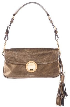 pradaPrada Metallic Leather Shoulder Bag