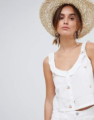 MANGO cherry print crop cami button through in white