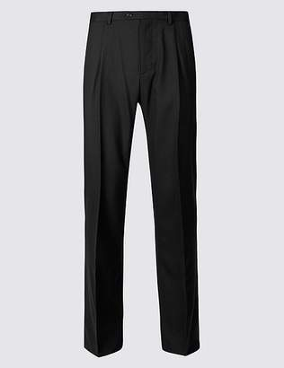 Marks and Spencer Regular Fit Wool Rich Single Pleated Trousers