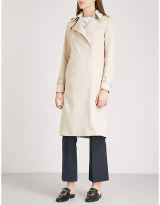 Sandro Double-breasted contrast-stitch woven coat