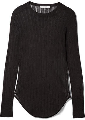 IRO Skogik Metallic Pointelle-knit Top - Black
