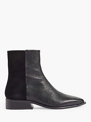 Jigsaw Haru Flat Leather Ankle Boots, Black