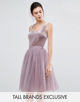 Little Mistress Tall Velvet Top Mini Skater Dress With Tulle Skirt $91 thestylecure.com