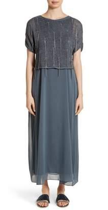 Fabiana Filippi Knit Overlay Stretch Silk Dress