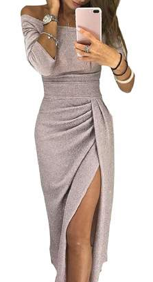 pujingge-CA Womens Off Shoulder Shiny Wrap Thigh Side Slit Ruched Sexy Bodycon Dress Grey M
