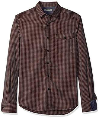 Kenneth Cole Reaction Men's Long Sleeve Check Print with Flap Pocket