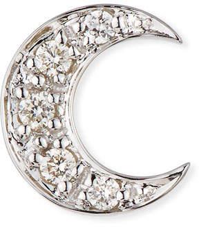 Sydney Evan 14k Pave Diamond Crescent Moon Single Stud Earring