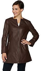 Dennis Basso Faux Leather Zip Front Topper Coat