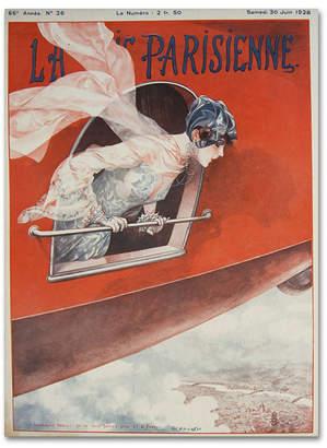 """Artdeco Vintage Apple Collection 'Artdeco Plane Lavie Parisienne' Canvas Art - 47"""" x 35"""" x 2"""""""