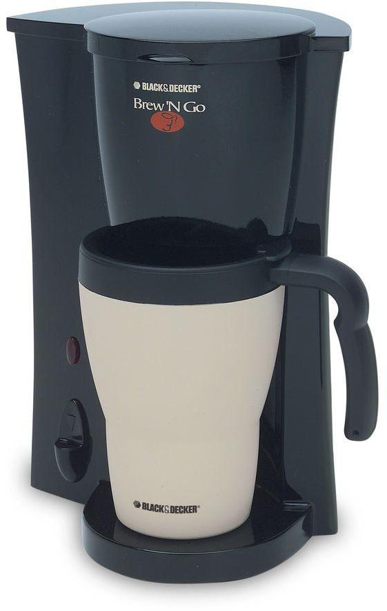BLACK+DECKER Brew N Go 15 oz. Coffee Maker in Black/Almond