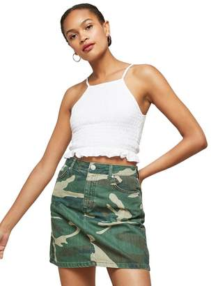 Miss Selfridge Camouflage Denim Mini Skirt