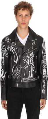 Diesel Black Gold Graffiti Printed Leather Biker Jacket
