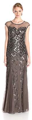 Adrianna Papell Women's Cap Sleeve Illusion Neck Gown $213.33 thestylecure.com
