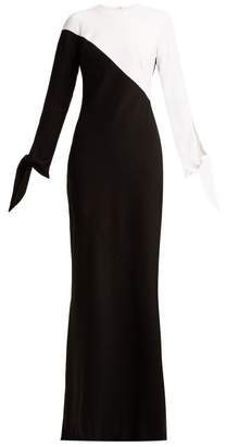 Carolina Herrera Two Tone Crepe Gown - Womens - Black White