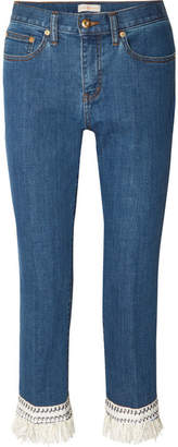 Tory Burch Connor Fringed Crochet-trimmed Mid-rise Straight-leg Jeans - Mid denim