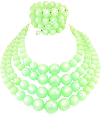 One Kings Lane Vintage Green Moonglow Lucite Necklace Suite
