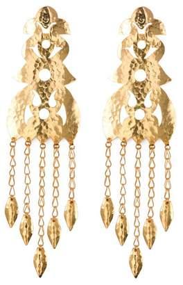 Josie Natori Hammered Gold Long Earrings