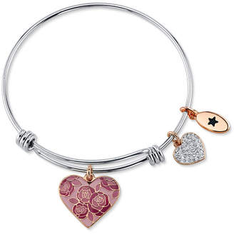 """Unwritten Mom You Are Nothing Short of Amazing"""" Pink Enamel Heart Crystal Bangle Bracelet in Stainless Steel"""