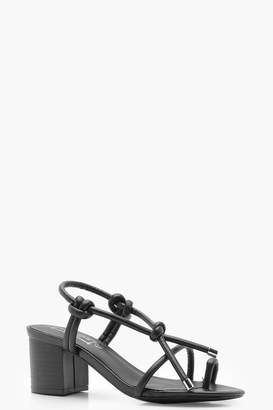 boohoo Knotted Strap Mid Block Heels