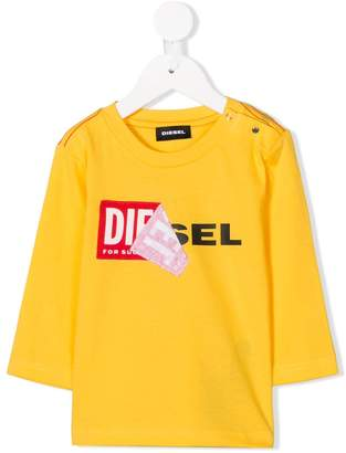Diesel peeled logo print T-shirt
